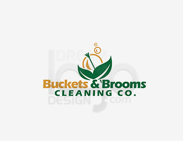 Buckets & Brooms Cleaning Logo Design - DreamLogoDesign