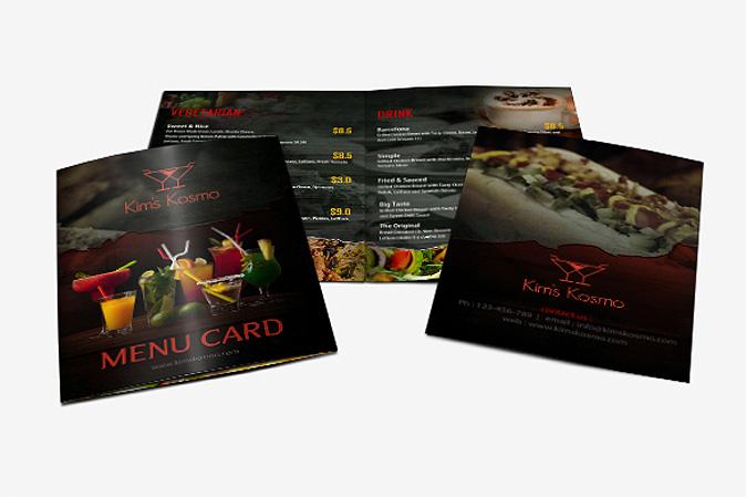 Menu Card Design Portfolio 1 - DreamLogoDesign