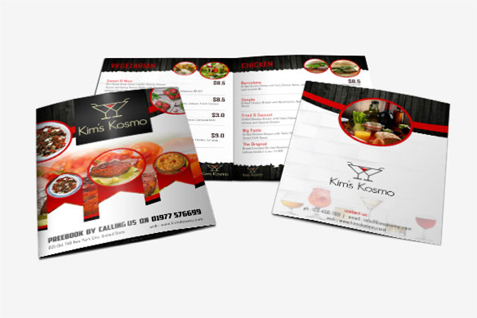 Menu Card Design Portfolio 5 - DreamLogoDesign
