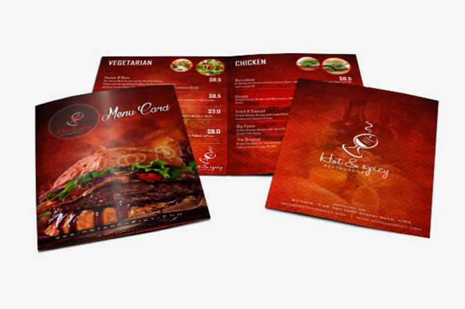 Menu Card Design Portfolio 6 - DreamLogoDesign
